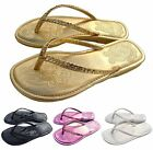 NEW Women's Sequin Thong Flat Heel Flip Flop Sandal Shoe 4 Colors Size 6 to 8