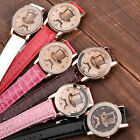 1pc Mustache Hat Boy Girl Unisex Leather Dial Rosy Gold Case Quartz Analog Watch