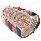 1x UK Flag Pattern Dial Boy Girl Unisex Leather Faceted Case Quartz Analog Watch