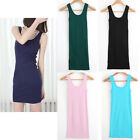 1pc Women Sleeveless T-Shirt Long Tank Tops Tight Waistcoat Skinny Vest Dress