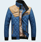 Hot Sale Men's Quilted Jacket Cotton-padded PU leather Winter Slim Coat 4 Color