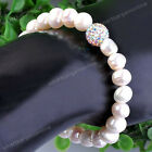 1pc Freshwater Pearl Crystal Disco Ball Bead Stretchy Bracelet Bangle Jewelry