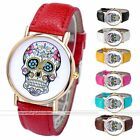 1pc Golden Case Day Of Dead Sugar Skull Cross Quartz Analog Wrist Band Watch