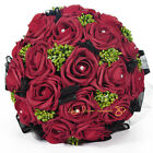 Wedding Bridal Flower Bouquet Sets Black Tulle Laciness Vintage Red Gem Decor