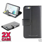 """iPhone 6 Plus 5.5"""" Case 2 x Black Premium Credit Wallet Leather Cover For Apple"""