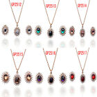 In 6 Color Chic Women 14k Gold Filled Austrian Crystal Necklace Earring Set