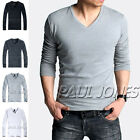 New Mens Slim Fit Long Sleeve Crew V-Neck T-Shirt Cotton Shirts Muscle Tops SML