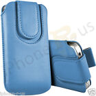 Baby Blue Magnetic PU Leather Pull Tab Flip Case For Various Vodafone Models