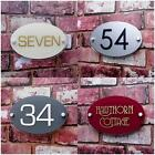 Personalised House Sign Door Number Street Address Name Plaque Modern OVAL Glass