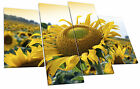 Yellow Sunflower Floral Sunset Flower Canvas Wall Art Picture 4 Panel Split