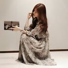 New Women Snake Floral Chiffon Cocktail Party Evening Casual Long Maxi Dress