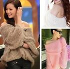 New 2014 Sexy Off-The-Shoulder Pullovers Knitted Crochet Sweaters For Lady Women