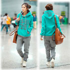 New Women Casual Thick Fleece Blue Hooded Sweater + Grey Pants Two-piece  AB US