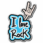 2 x Static Cling Stickers - I Love Rock Funny Inside Car Window Decal  #4054