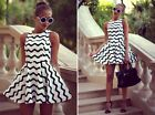 Fashion Black And White Wave Striped Sleeveless Round Neck Dress Skirts For Lady