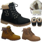 Ladies Girls Snow Boots Grip Sole Army Inner Fur Collar Shoes Size Uk3 4 5 6 7 8
