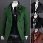 New Style Men Pea Coat Double Breasted Winter Long Jacket Coat Overcoat Retro