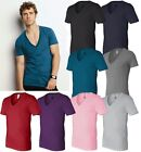 Canvas Mens Unisex Deep V-Neck T-Shirt 100% Cotton NEW Size XS -2XL Men's B-3105
