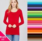 T Shirt SCOOP Long Sleeve Active Basic COTTON Stretch Plus Size XL/1X/2X/3X