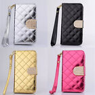 Luxury PU Leather Grid Wallet Flip Magnet Stand Case Cover For Mobile Phone LPD