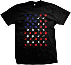 Red White And Blue Stars Flag USA America Patriotic Murica Mens T-shirt image