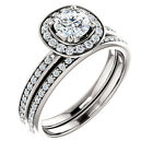 1/2 CT 5mm Forever Brilliant Moissanite 14K White Gold Halo Engagement  Ring set