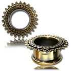 PAIR ANTIQUED TRIBAL AFGHAN BRASS TUNNELS PLUGS GAUGES PLUGS PLUG EAR GAUGE