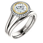 1ct 6.5mm FB Moissanite 14k white gold Floral Style diamond Engagement Ring set