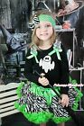Halloween Black Pettitop White Ghost Girl Green Zebra Pettiskirt Outfit 1-8Year