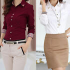 Women Long Sleeve OL T Shirt Turn-down Collar Button Blouse Tops White Rivet new