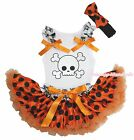Halloween White Skull Top Orange Black Dot Baby Girl Pettiskirt Costume NB-8Year