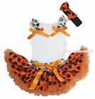 Halloween Crown Skull Ruffle Top Orange Black Dot Skirt Baby Girl Costume NB-8Y