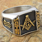 Blue Lodge 3rd Degree Men Masonic Ring Square G Master Mason Gold Tone Size 9-13