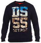 D555 Mens DETROIT Navy Crew Neck Sweatshirt Jumper Thick Warm Sweater S M L XL