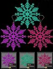 6 x Snowflake Glitter Christmas Tree Hanging Decoration Pink Purple Turquoise