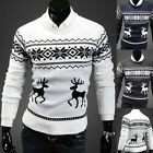 Fashion Mens Crew Neck Deer Print Sweater Casual Pullover Sweater Cardigan Coat