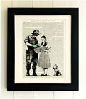 ART PRINT ON OLD ANTIQUE BOOK PAGE *FRAMED* Banksy, Dorothy Police Search