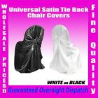 New Universal Tie Back Satin Wedding Event Chair Covers Party White Black