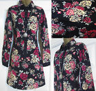 NEW EX CREW CLOTHING NAVY BLUE PINK FLORAL CORD SHIRT DRESS TUNIC 8 10 12 14 16