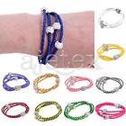Multilayer Magnetic Rhinestone PU Leather Buckle Wrap Waistband Bracelet Bangle