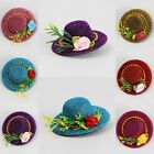1 Pcs Glitter Hairpin Hat with Flower Hair Clip Lady Woman Party Hair Accessory