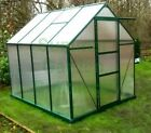GREEN POLYCARBONATE GREENHOUSE WITH CLIP FREE GLAZING, FREE BASE & BASE ANCHORS
