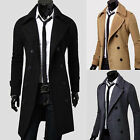 Mens Stylish Trench Coats Long Jackets Shirts Top Double Breasted--UK  FO