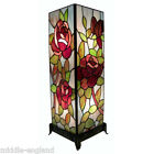 "TIFFANY STYLE TABLE LAMP 18.5"" RED ROSE DESIGN 7.5""SQUARE GLASS BUY PAIR SAVE10%"
