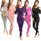 New Women Sexy Round Neck Winter Thermal Sets Tops Pants Underwear Long Pajamas