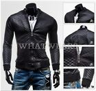Men's Short Slim Leather Jacket Stitching Quilted Collar Padded Coat Black FOZ