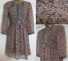 NEW EX M&S INDIGO FLORAL PRINT TUNIC DRESS TOP PEACH GREY BROWN 8 10 12 14 16
