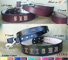Dog Collars and Leashes - Custom Leather Dog Collar Leash XL - Big Dog Collars