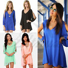 Hot Women Loose V-neck Split Long Sleeve Cocktail Party Shift Dress Clubwear Top