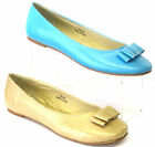 **SALE* LADIES SPOT ON SLIP ON DOLLY BALLERINA SHOES BLUE & BEIGE  F8439